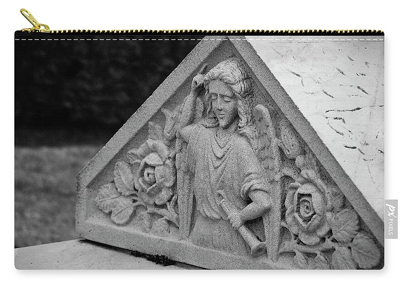 Ireland Carry-all Pouch featuring the photograph Angel With Horn Carving by Teresa Mucha