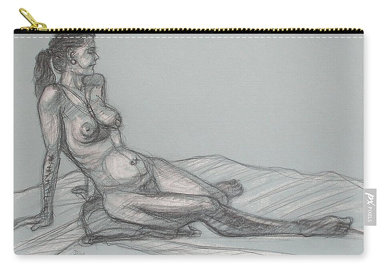 Realism Carry-all Pouch featuring the drawing Angela Reclining 4 by Donelli DiMaria