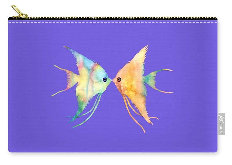 Fish Carry-all Pouch featuring the painting Angelfish Kissing by Hailey E Herrera