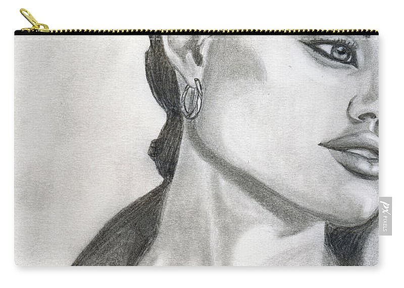 Pencil Carry-all Pouch featuring the drawing Angelina Jolie by Alban Dizdari