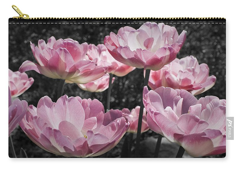 Pink Carry-all Pouch featuring the photograph Angelique Peony Tulips by Teresa Mucha