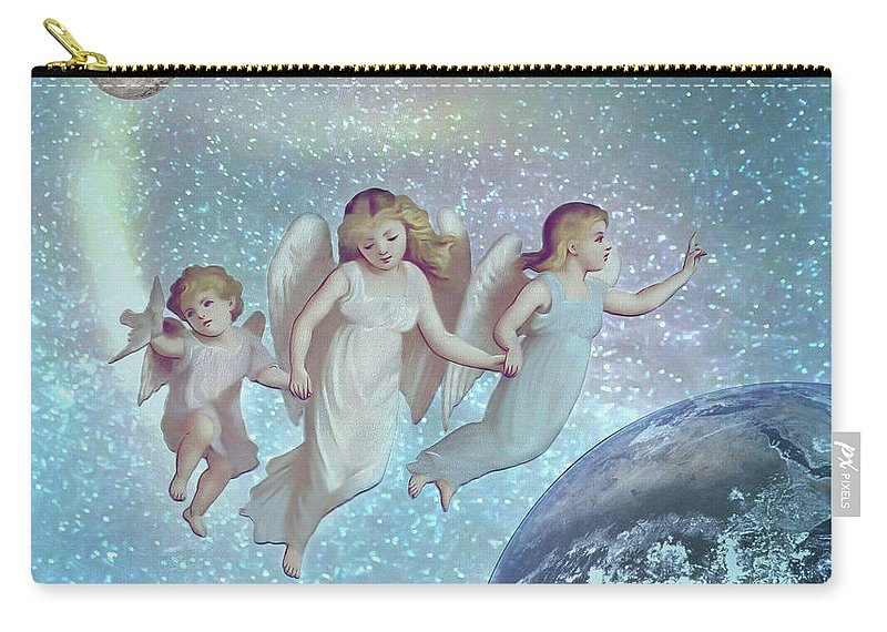 Angels Above Carry-all Pouch featuring the mixed media Angels Above by KaFra Art