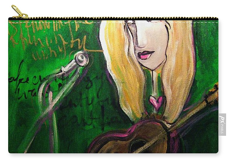 Green Carry-all Pouch featuring the painting Angie Stevens Solo by Laurie Maves ART