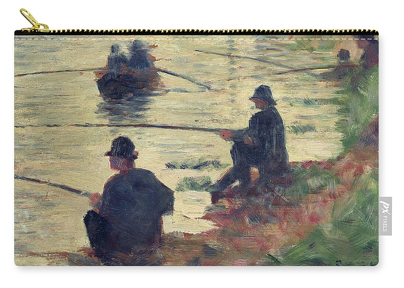 E Seurat (1859-91) Carry-all Pouch featuring the painting Anglers by Georges Pierre Seurat