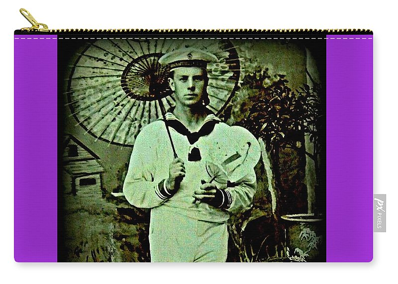 Victorian Sailor Photo Print Carry-all Pouch featuring the photograph Anglo Sailor In China Ca 1890 by Peter Gumaer Ogden