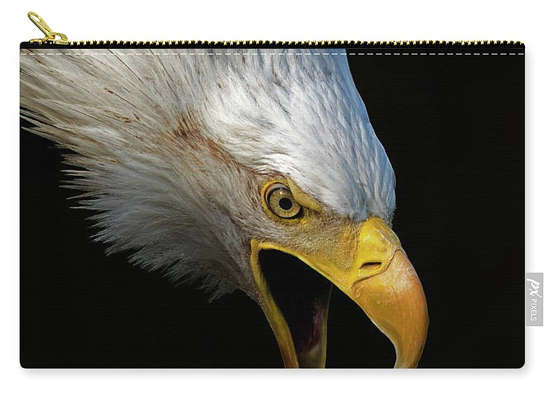 Bald Eagle Carry-all Pouch featuring the photograph Angry Bald Eagle Portrait by Lowell Monke