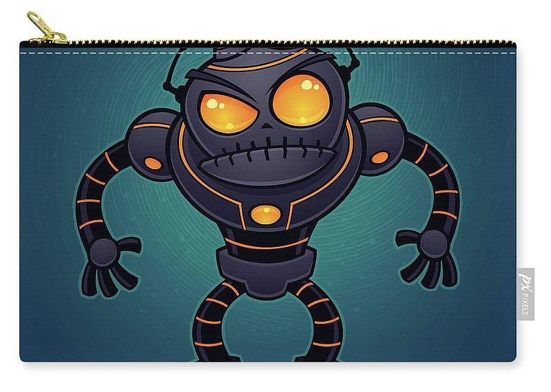 Robot Carry-all Pouch featuring the digital art Angry Robot by John Schwegel