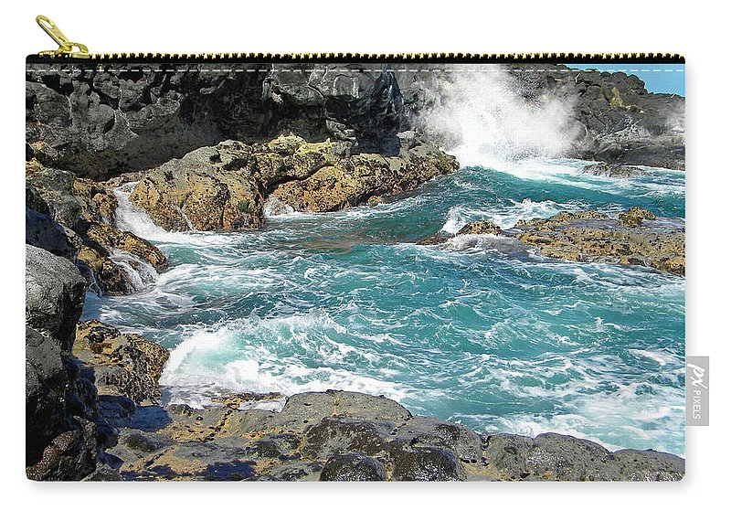 Frank Wilson Carry-all Pouch featuring the photograph Angry Surf by Frank Wilson
