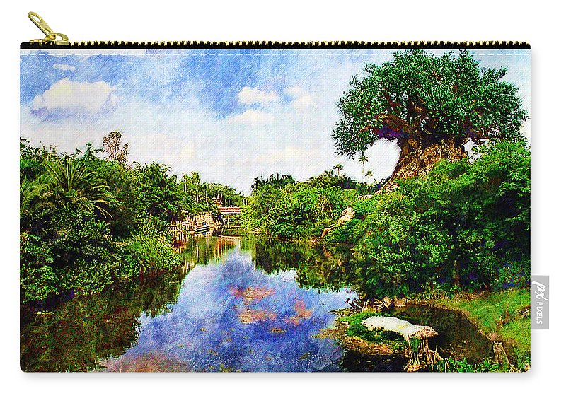 Landscape Carry-all Pouch featuring the digital art Animal Kingdom Tranquility by Sandy MacGowan