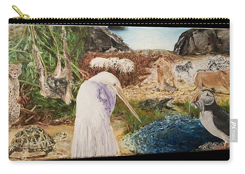 Landscape Carry-all Pouch featuring the painting Animals Circle by Pablo de Choros