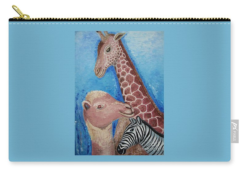 Painting Carry-all Pouch featuring the painting Animals Ladies by Stella Velka