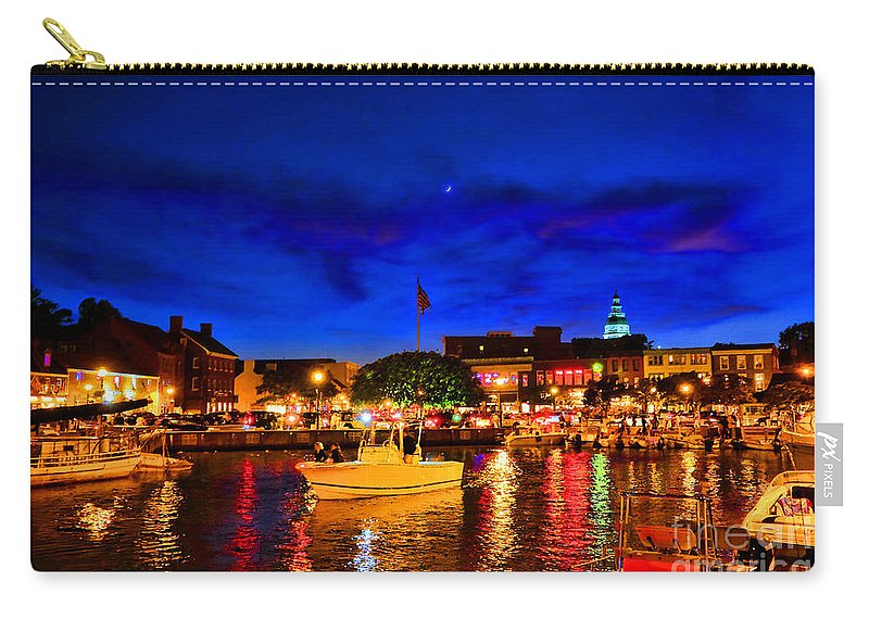 Annapolis Carry-all Pouch featuring the photograph Annapolis Magic Night by Olivier Le Queinec