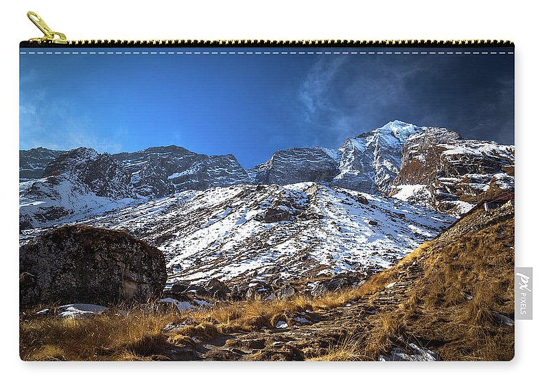 Snow Mountain Nepal Rock Stone Rocky Summit Trek Trekking Nature View Grass Sky Cloud Light Sunny Day View Hill Outdoor Hike Destination Trip Travel Nobody Environment Carry-all Pouch featuring the photograph Annapurna Trail With Snow Mountain Background In Nepal by Katesalin Pagkaihang