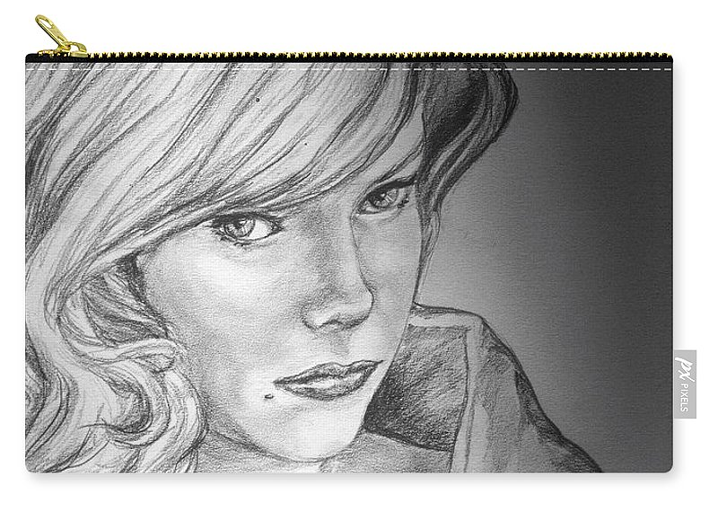 Anne Francis Carry-all Pouch featuring the drawing Anne Francis by Bryan Bustard