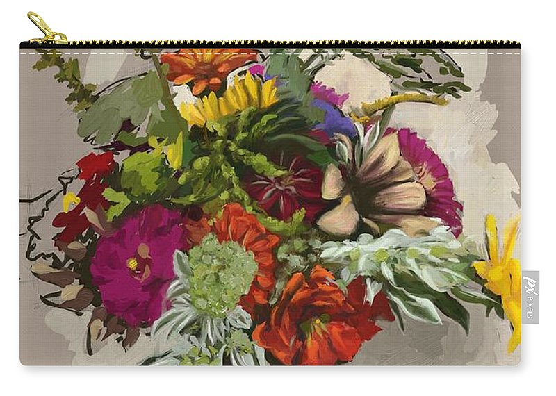 Flowers Carry-all Pouch featuring the painting Anne's Flowers by Shelley Hanna