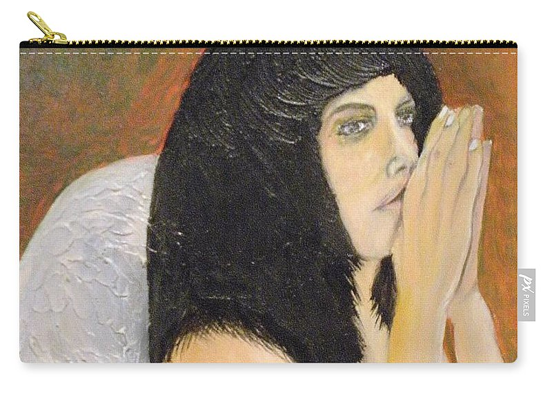 She Prays For All Mankind Carry-all Pouch featuring the painting Annolita Praying by J Bauer
