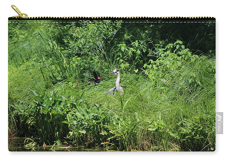 Marsh Carry-all Pouch featuring the photograph Annoyed - Heron and Red Winged Blackbird 5 of 10 by Colleen Cornelius