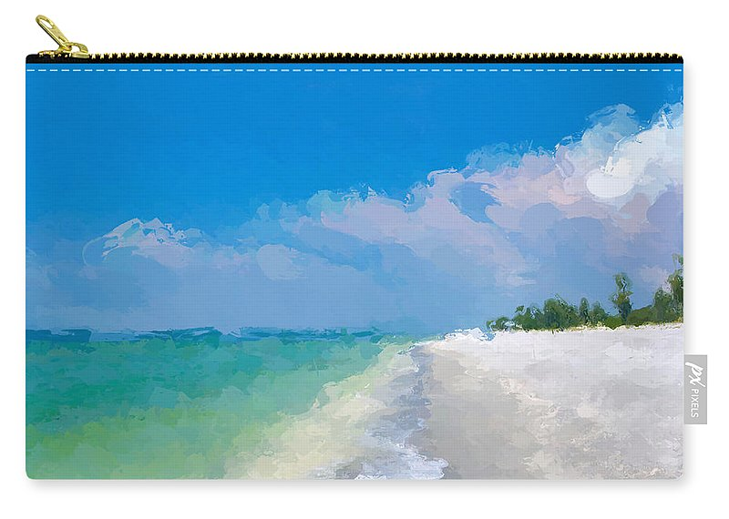 Anthony Fishburne Carry-all Pouch featuring the mixed media Another Beach Day by Anthony Fishburne