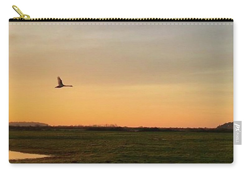 Natureonly Carry-all Pouch featuring the photograph Another Iphone Shot Of The Swan Flying by John Edwards