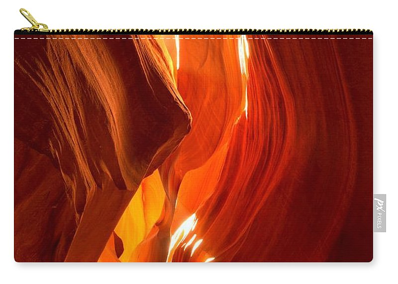 Antelop Canyon Carry-all Pouch featuring the photograph Antelope Canyon Wavy Abstract by Adam Jewell