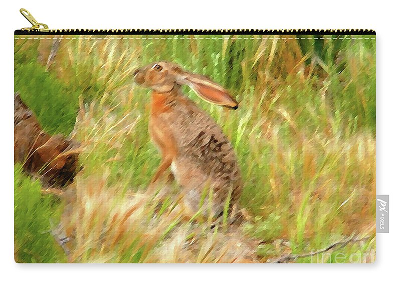 Art Carry-all Pouch featuring the painting Antelope Jackrabbit by David Lee Thompson