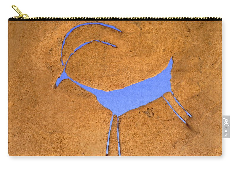 Anasazi Carry-all Pouch featuring the photograph Antelope Petroglyph by Jerry McElroy