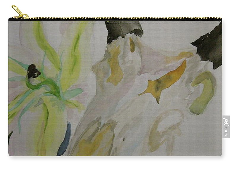Skull Carry-all Pouch featuring the painting Antelope Skull Pinecones And Lily by Beverley Harper Tinsley