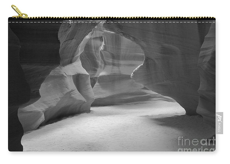 Antelop Canyon Carry-all Pouch featuring the photograph Antelope Slot Canyon Black And White by Adam Jewell