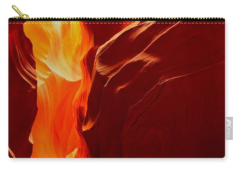 Upper Antelop Carry-all Pouch featuring the photograph Antelope Textures And Flames by Adam Jewell