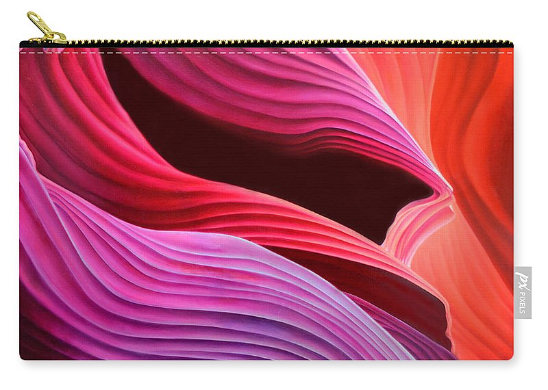Antelope Canyon Carry-all Pouch featuring the painting Antelope Waves by Anni Adkins