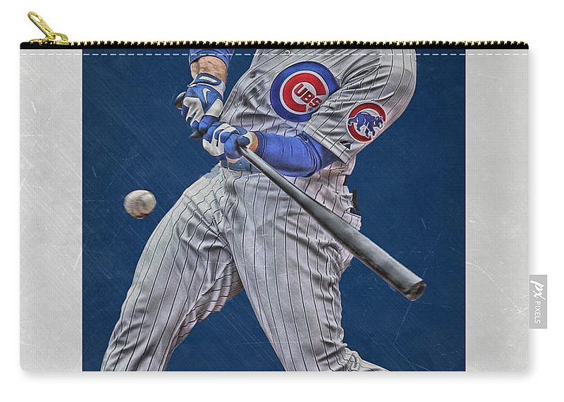 Anthony Rizzo Carry-all Pouch featuring the mixed media Anthony Rizzo Chicago Cubs Art 1 by Joe Hamilton