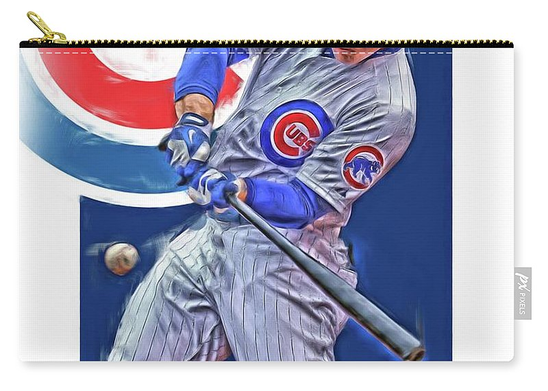 Anthony Rizzo Carry-all Pouch featuring the mixed media Anthony Rizzo Chicago Cubs Oil Art by Joe Hamilton