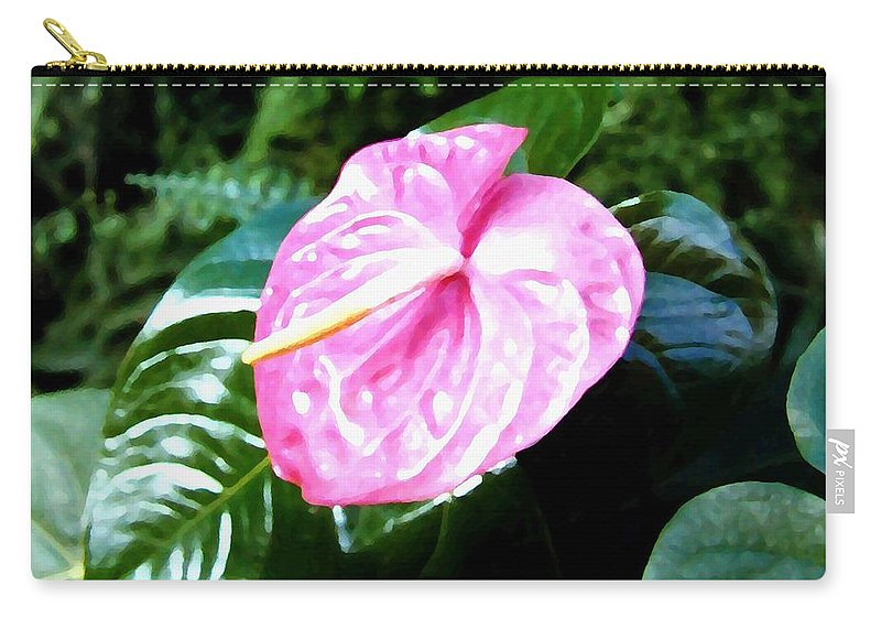 1986 Carry-all Pouch featuring the digital art Anthurium by Will Borden