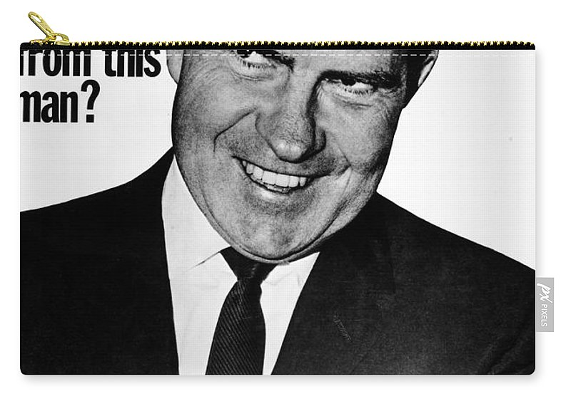 1960 Carry-all Pouch featuring the photograph Anti-nixon Poster, 1960 - To License For Professional Use Visit Granger.com by Granger