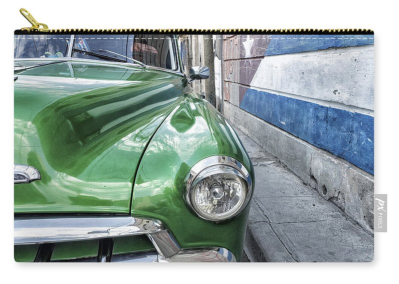 Caribbean Carry-all Pouch featuring the photograph Antique Car And Mural 2 by Dan Leffel