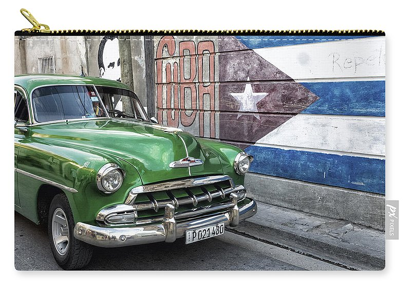Caribbean Carry-all Pouch featuring the photograph Antique Car And Mural by Dan Leffel