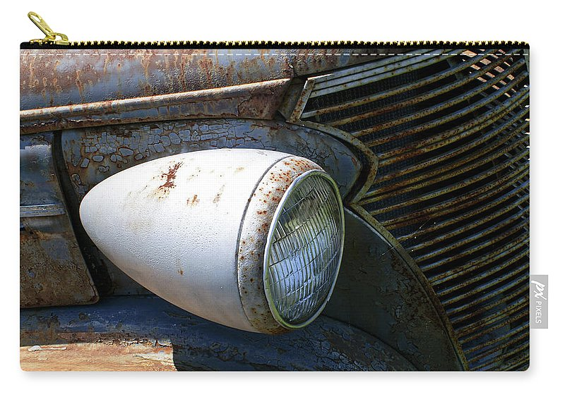 Antique Carry-all Pouch featuring the photograph Antique Car Headlight by Douglas Barnett