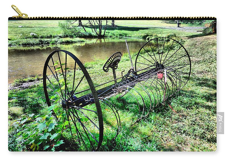 Antique Farm Equipment Carry-all Pouch featuring the painting Antique Farm Equipment 3 by Jeelan Clark
