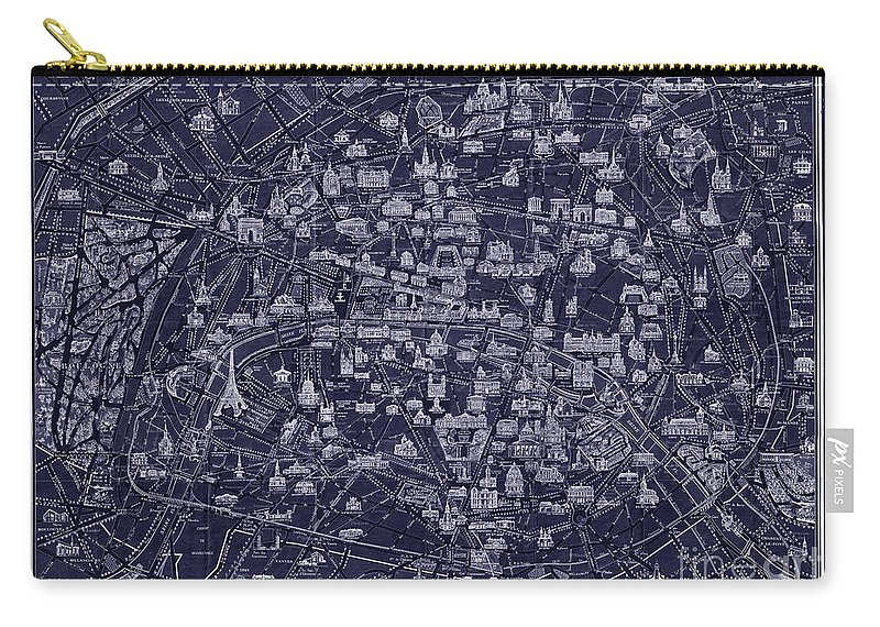 Restored And Altered Antique 1920 Pocket Map Of Paris Done In A Blueprint Style. Carry-all Pouch featuring the drawing Antique French Pocket Map Of Paris Blueprint Style by Tina Lavoie