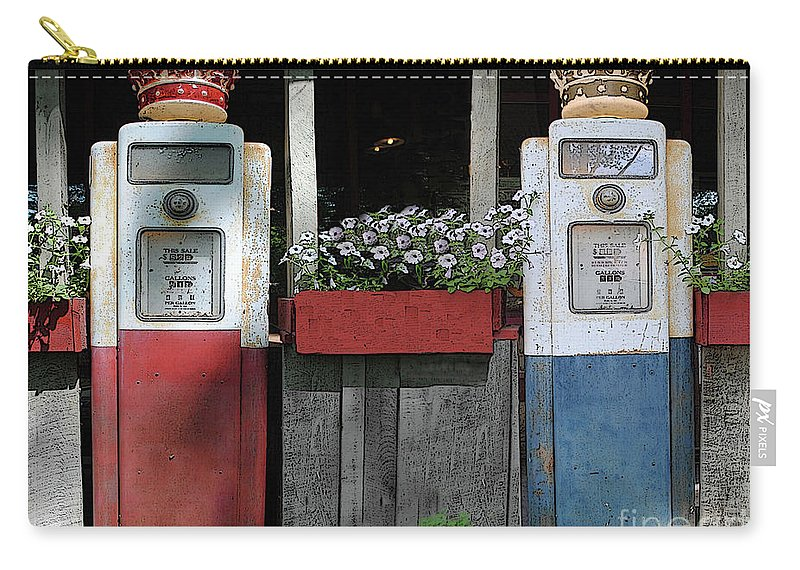 Antigue Carry-all Pouch featuring the photograph Antique Gas Pumps by Jost Houk