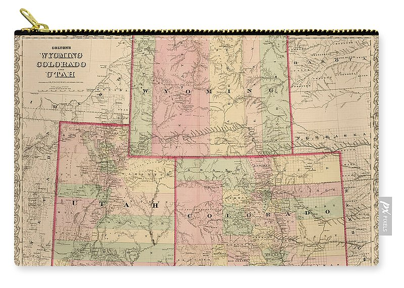 Antique Map - Colton\'s Wyoming Colorado And Utah 1876 Carry-all ...