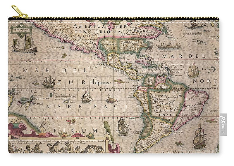 Maps Carry-all Pouch featuring the drawing Antique Map Of America by Jodocus Hondius