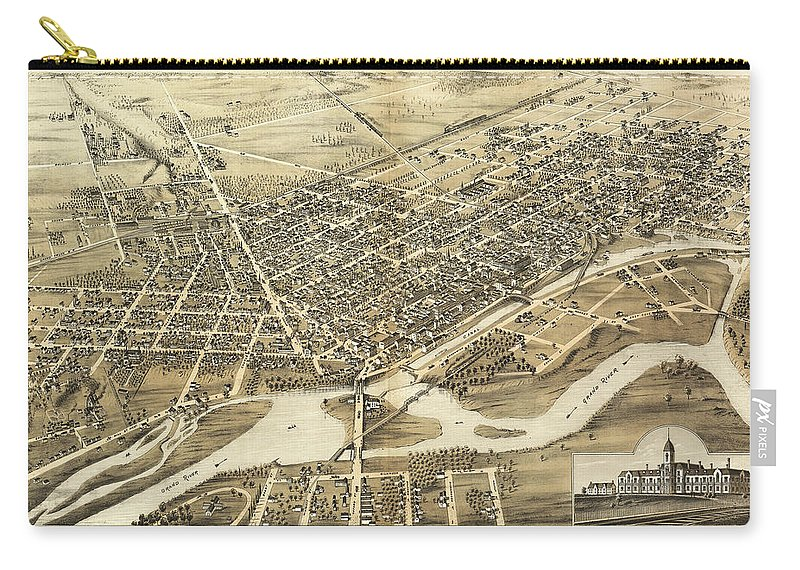 Antique Birds Eye View Map Of Brantford Carry-all Pouch featuring the drawing Antique Maps - Old Cartographic Maps - Antique Birds Eye View Map Of Brantford, Canada, 1875 by Studio Grafiikka