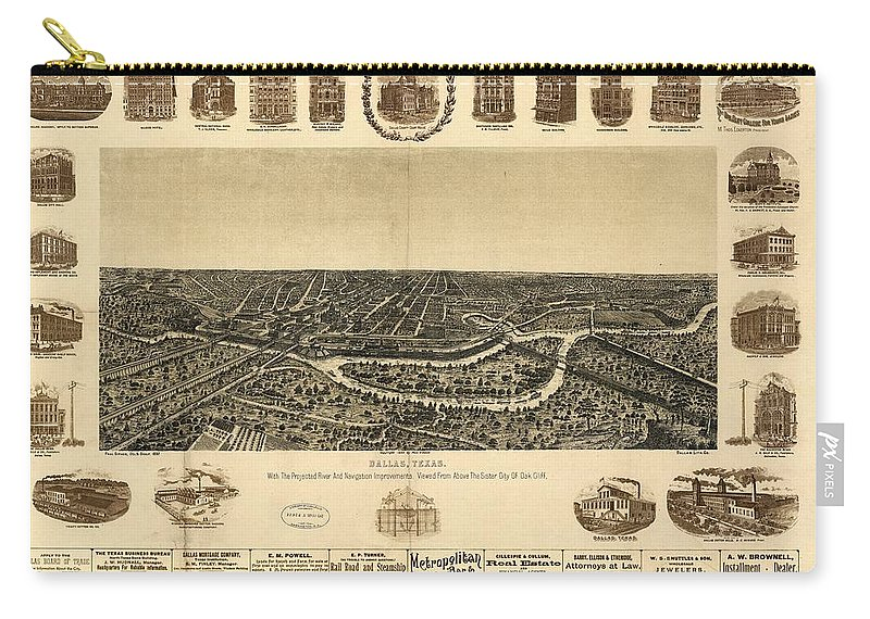Antique Birds Eye View Map Of Dallas Carry-all Pouch featuring the drawing Antique Maps - Old Cartographic Maps - Antique Birds Eye View Map Of Dallas, Texas, 1892 by Studio Grafiikka