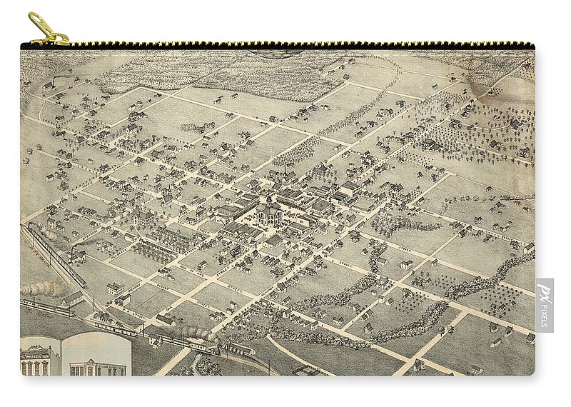 Antique Birds Eye View Map Of Denton Carry-all Pouch featuring the drawing Antique Maps - Old Cartographic Maps - Antique Birds Eye View Map Of Denton, Texas, 1883 by Studio Grafiikka