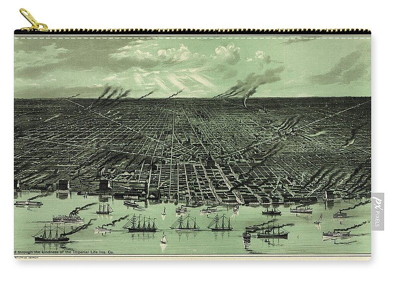 Antique Birds Eye View Map Of Detroit Carry-all Pouch featuring the drawing Antique Maps - Old Cartographic Maps - Antique Birds Eye View Map Of Detroit, Michigan by Studio Grafiikka