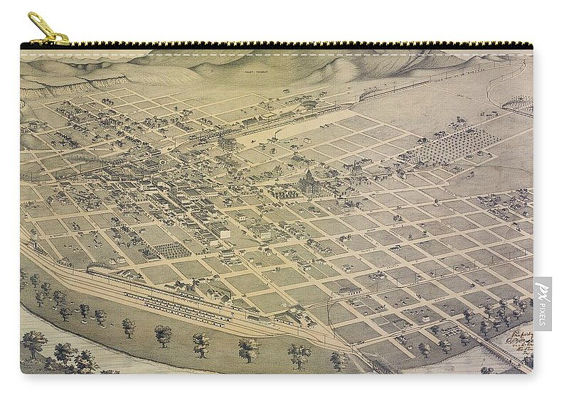 Antique Birds Eye View Map Of El Paso Carry-all Pouch featuring the drawing Antique Maps - Old Cartographic Maps - Antique Birds Eye View Map Of El Paso, Texas, 1885 by Studio Grafiikka