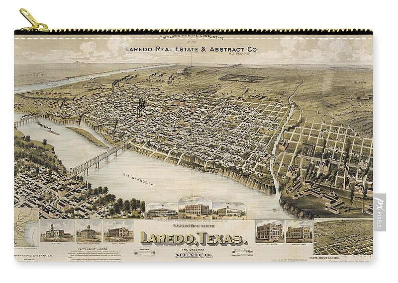 Antique Birds Eye View Map Of Laredo Carry-all Pouch featuring the drawing Antique Maps - Old Cartographic Maps - Antique Birds Eye View Map Of Laredo, Texas, Mexico, 1892 by Studio Grafiikka