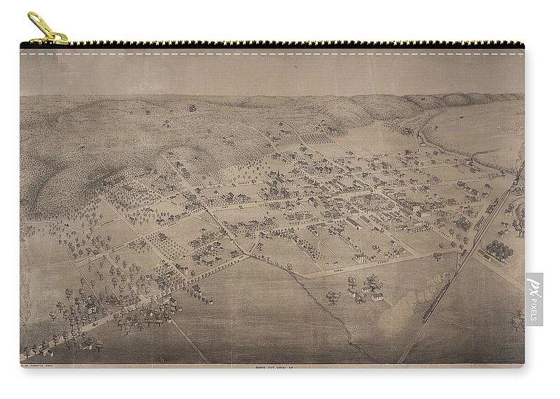 Antique Birds Eye View Map Of San Marcos Carry-all Pouch featuring the drawing Antique Maps - Old Cartographic Maps - Antique Birds Eye View Map Of San Marcos, Texas, 1881 by Studio Grafiikka