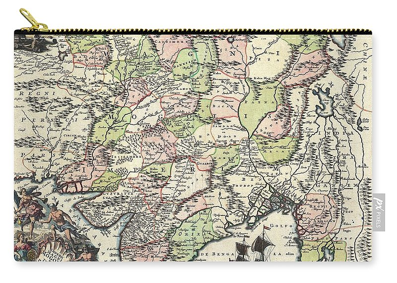 Antique Maps - Old Cartographic Maps - Antique Map Of India, Pakistan,  Tibet And Afghanistan, 1740 Carry-all Pouch